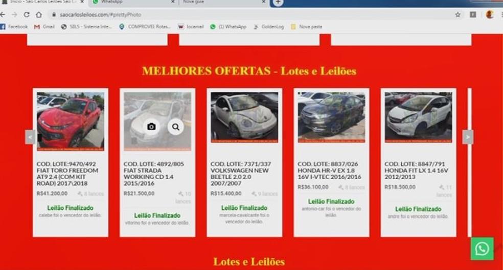 Site falso de leilões engana moradores de São Carlos e região — Foto: Reprodução/EPTV