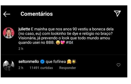 Comentário de Selton Mello nas fotos de Juliette no Instagram Reprodução