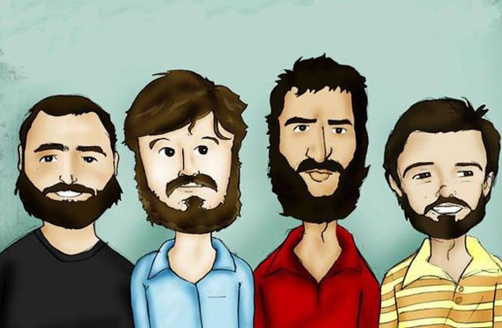Ilustração do grupo Los Hermanos, que se apresenta no Brasil entre abril e maio de 2019 — Foto: Divulgação