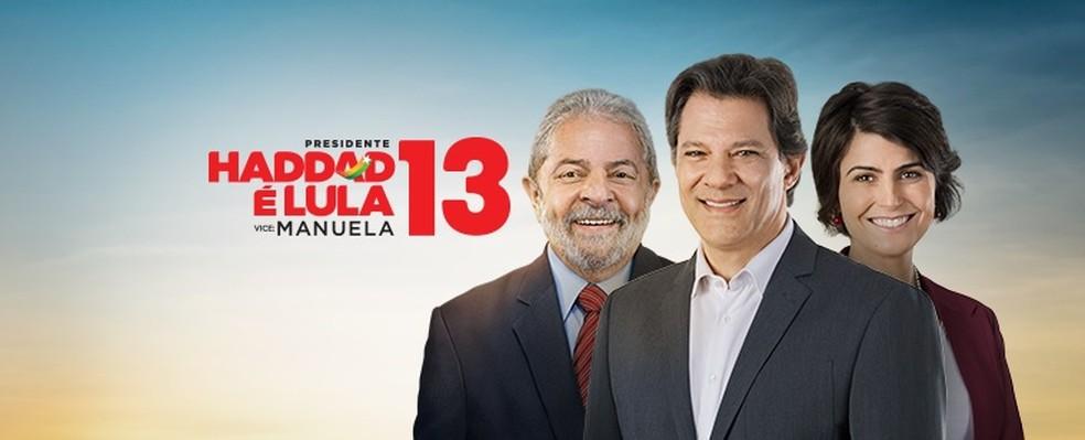 Peça da primeira fase da campanha de Haddad à Presidência, que exibia o ex-presidente Lula — Foto: Reprodução, PT
