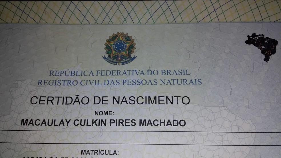 Bebê de Botucatu ganhou o nome do ator Macaulay Culkin — Foto: Brenda Pires/Arquivo Pessoal