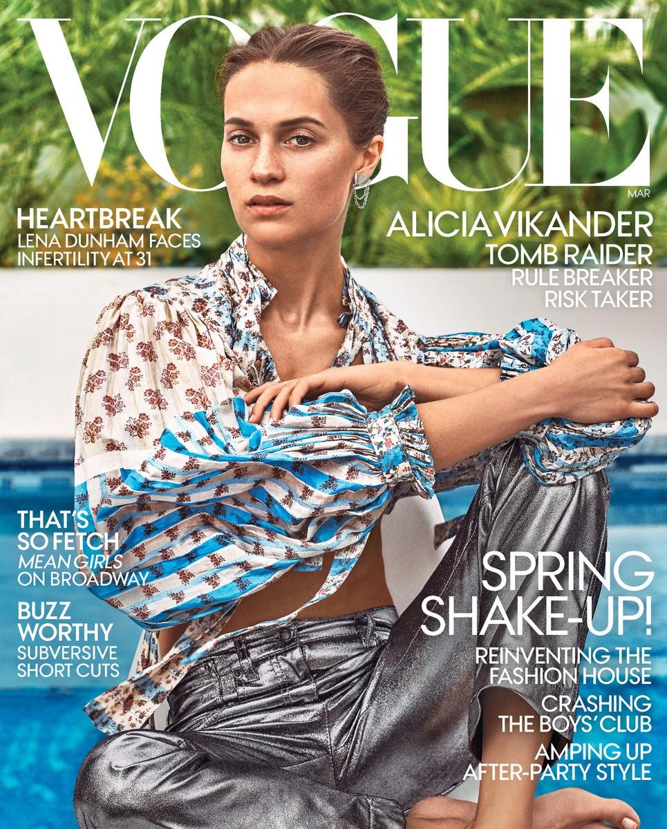 Alicia Vikander na capa da edição de março da Vogue norte-americana (Foto: Reprodução)