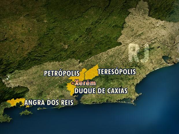 Cidades do Rio de Janeiro atingidas pelo temporal  (Foto: Editoria de Arte/TV Globo)