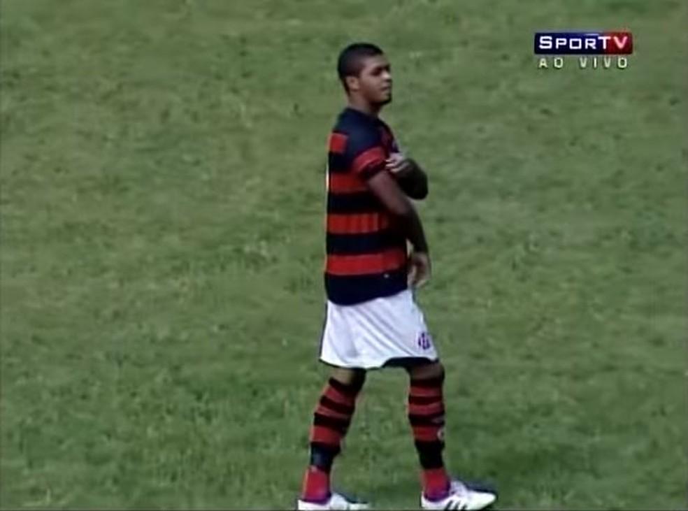 Christianno na época em que jogava no time sub-20 do Flamengo — Foto: Reprodução / SporTV