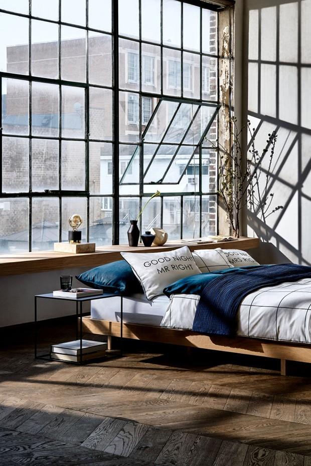 Décor do dia: quarto de casal jovem e industrial (Foto: H&M Home/Divulgação)