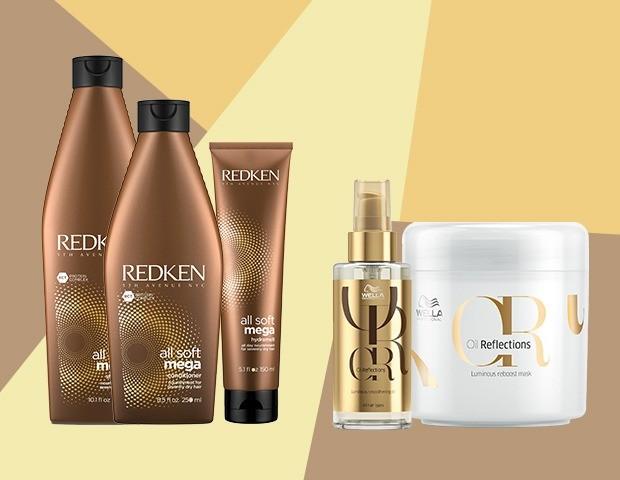 Alguns dos produtos que estão salvando meus fios: a linha All Soft Mega para cabelos extremamente secos da Redken (shampoo, R$ 108; condicionar, R$ 140; leave-in, R$ 165)/ A linha Oil reflections da Wella (óleo, R$ 193,29/ máscara, R$ 177, 94) (Foto: Divulgação)