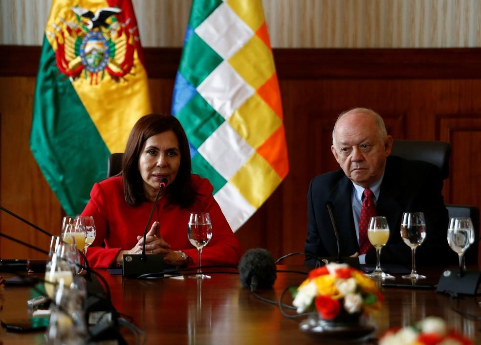 Chanceler da Bolívia, Karen Longaric, representa a Bolívia na Cúpula do Mercosul — Foto: David Mercado/Reuters