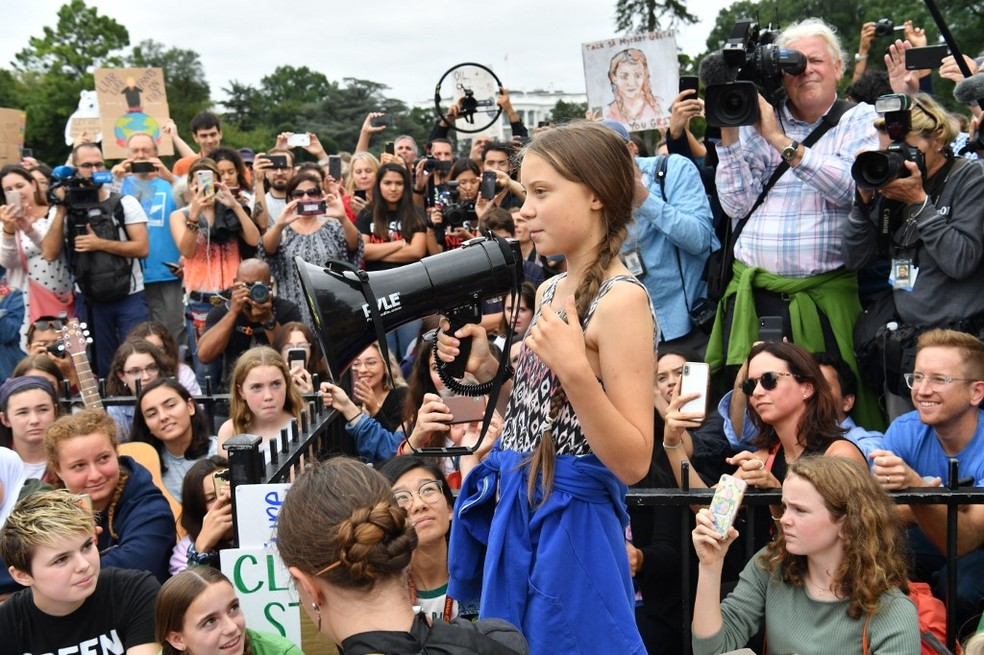 Greta Thunberg em protesto na frente da Casa Branca, em Washington, no dia 13 de setembro de 2019 — Foto: Nicholas Kamm / AFP