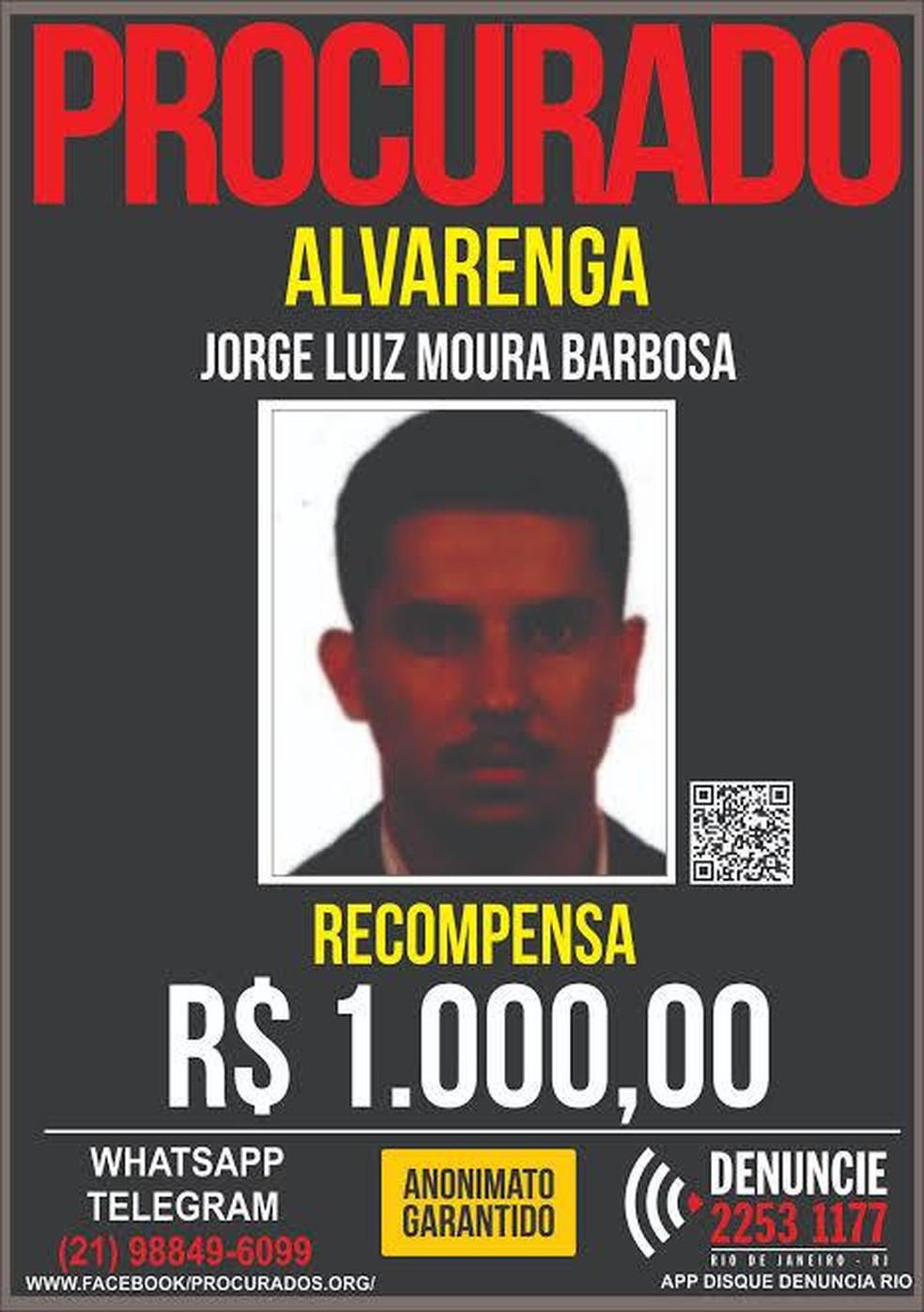 Disque Denúncia oferece recompensa de R$ 1 mil por informações que levem à prisão de Alvarenga — Foto: Divulgação/Disque Denúncia