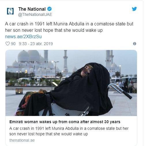 Munira Abdulla acordou de um estado de coma após 27 anos  (Foto: Twitter: Reprodução)