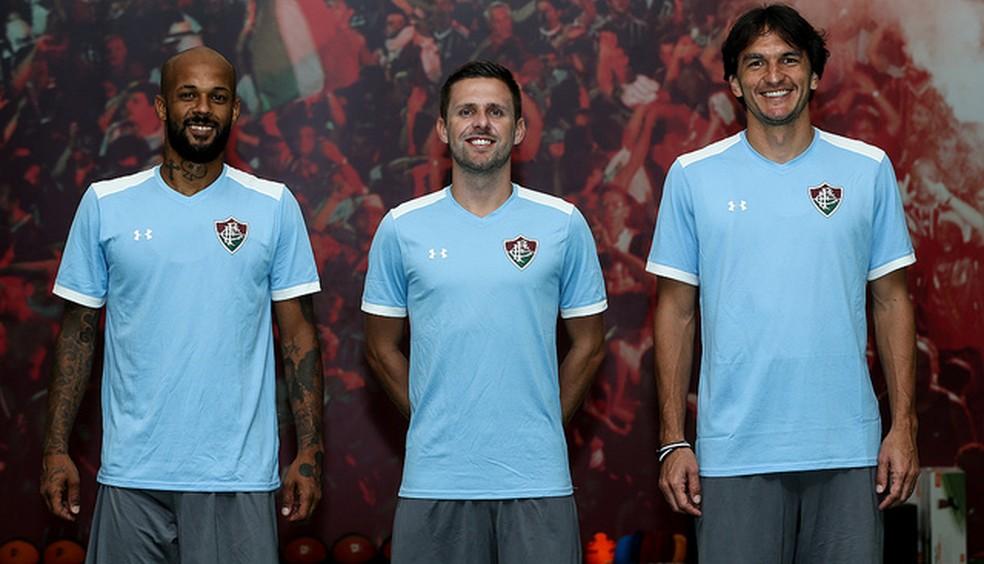 Bruno Silva, Ezequiel, Matheus Ferraz, reforços do Fluminense — Foto: Lucas Merçon/FFC