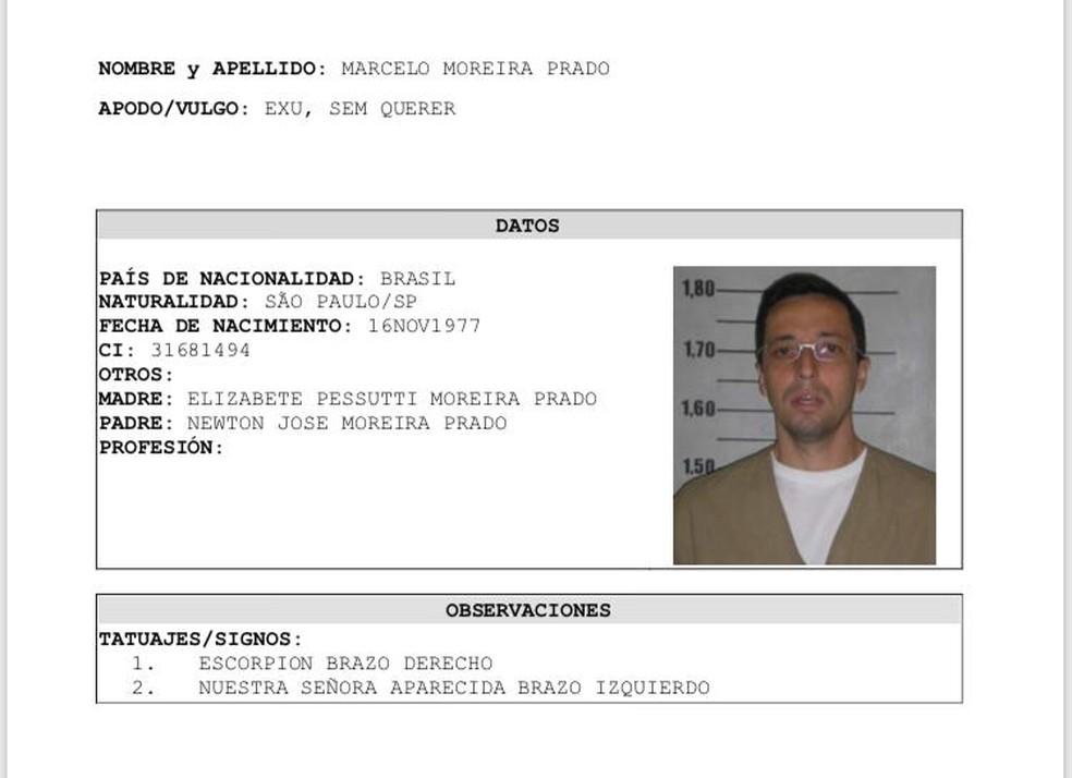 Criminoso conhecido como Pisca usava documentos falsos  (Foto: Reprodução/Polícia do Paraguai)