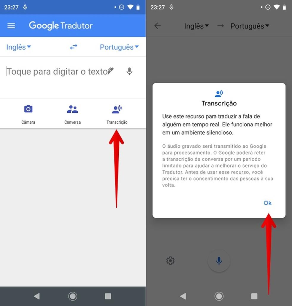 Usando recurso de transcrição do Google Tradutor — Foto: Reprodução/Helito Beggiora