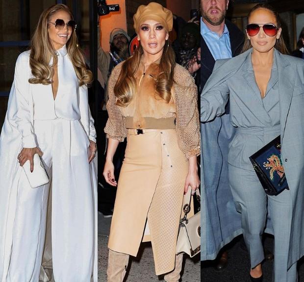 Jennifer Lopez usa três looks diferentes no mesmo dia em NY