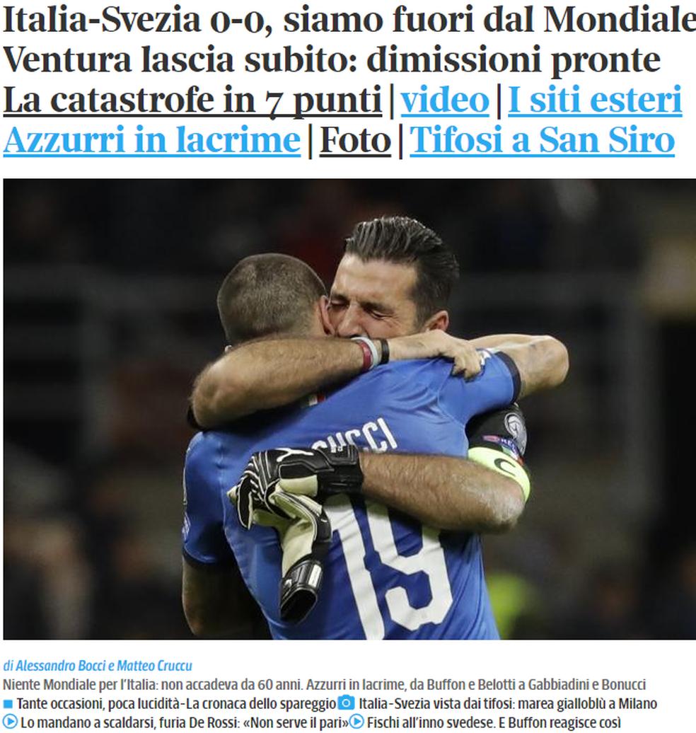Corriere della Sera lamenta Itália fora da Copa (Foto: Reprodução)