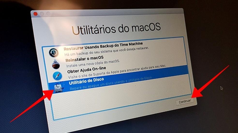 Acesse o utilitário de disco do Mac — Foto: Reprodução/Paulo Alves