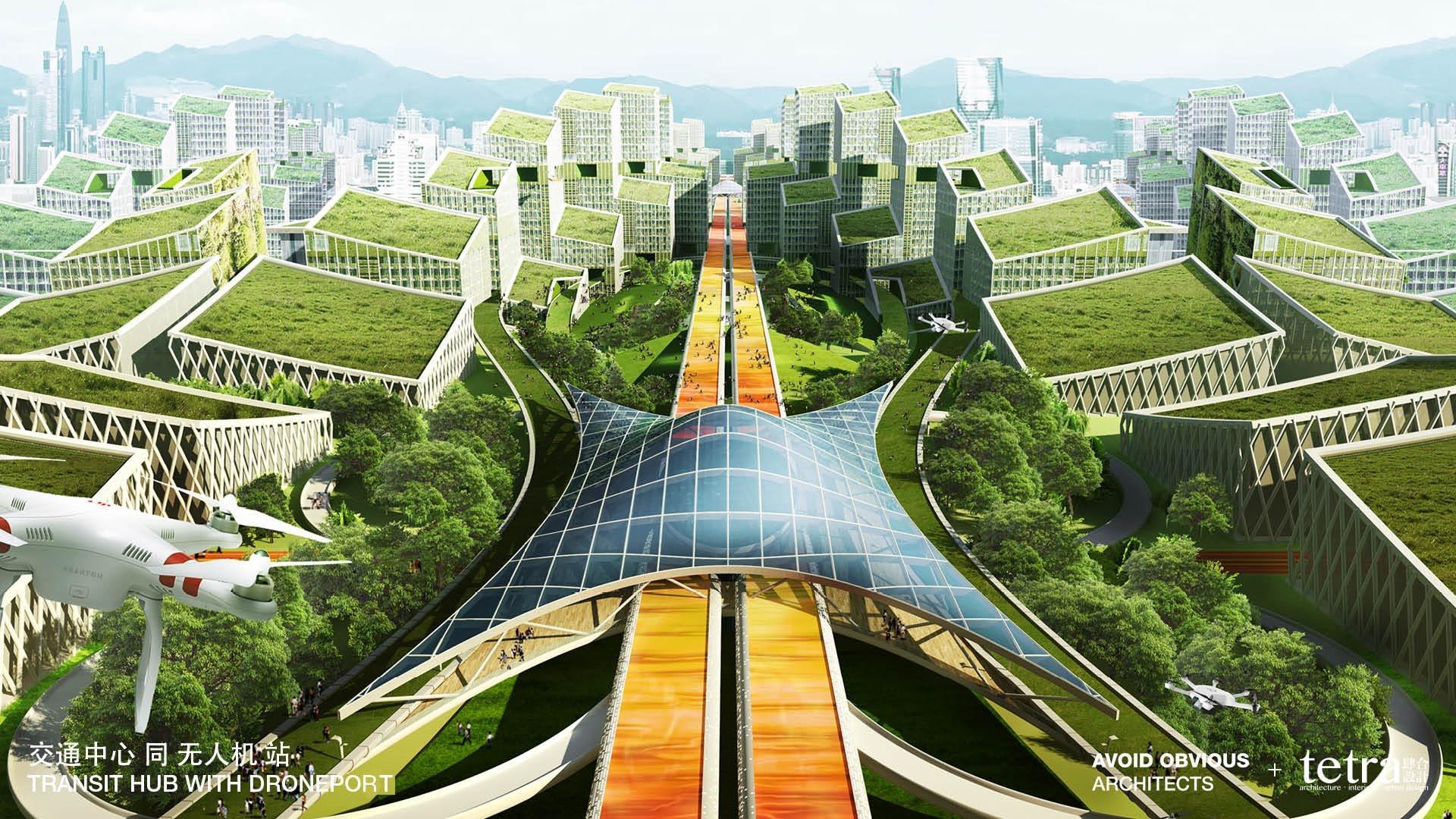 Concepção artística da futurista cidade de Shenzhen, na China. (Foto: aoarchitect)