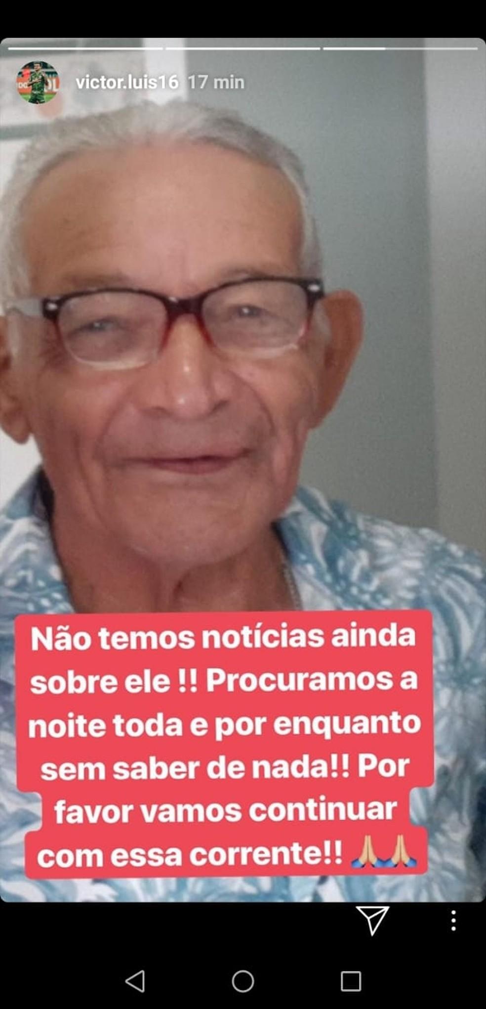 Nesta quarta-feira, Victor Luis disse não ter noticias do avô — Foto: Reprodução / instagram