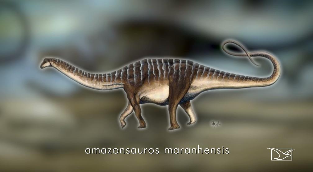 Representação de como seria o Amazonssauros Maranhensis na natureza — Foto: Reprodução/TV Mirante