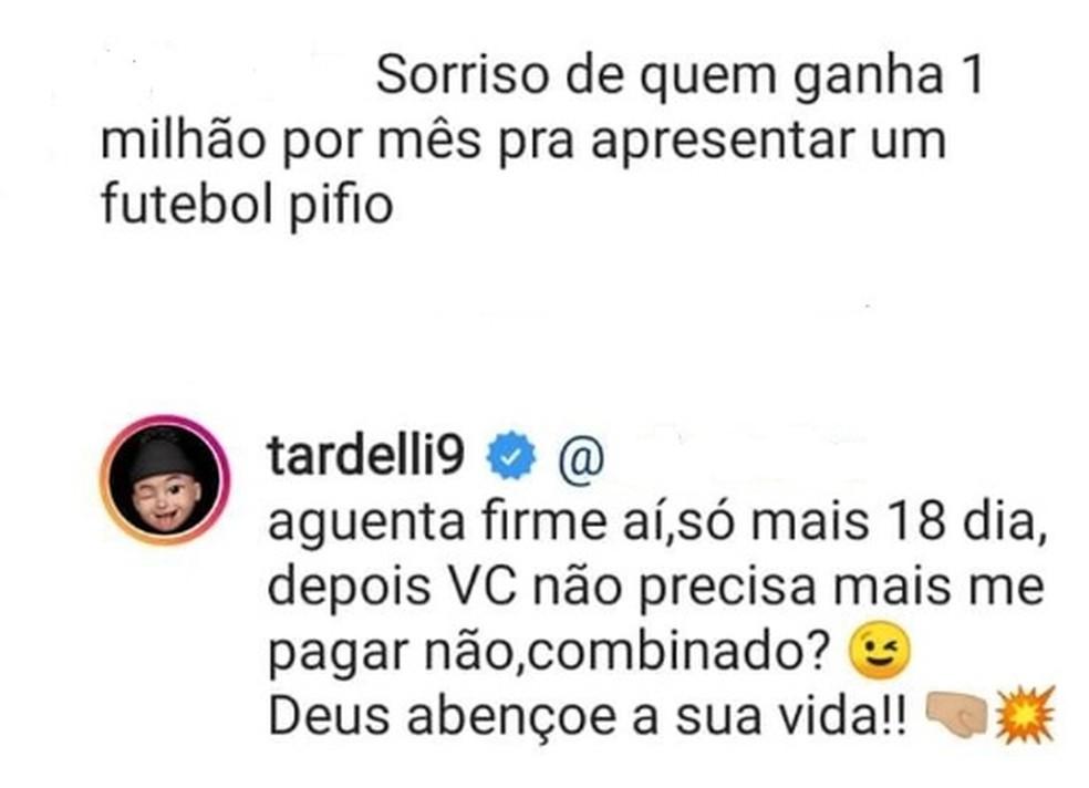 Tardelli teve discussão com torcedor no Instagram — Foto: Reprodução