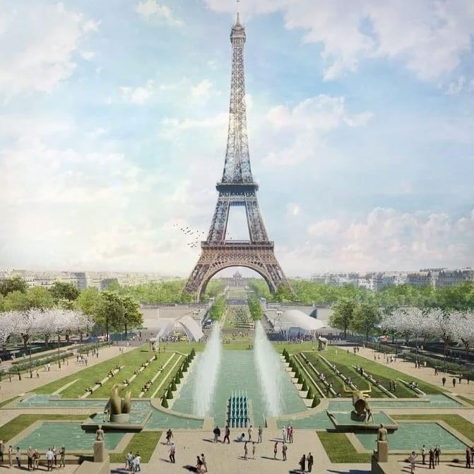 Projeto de jardim para a Torre Eiffel criado por Gustafson Porter + Bowman (Foto: Reprodução/Instagram)