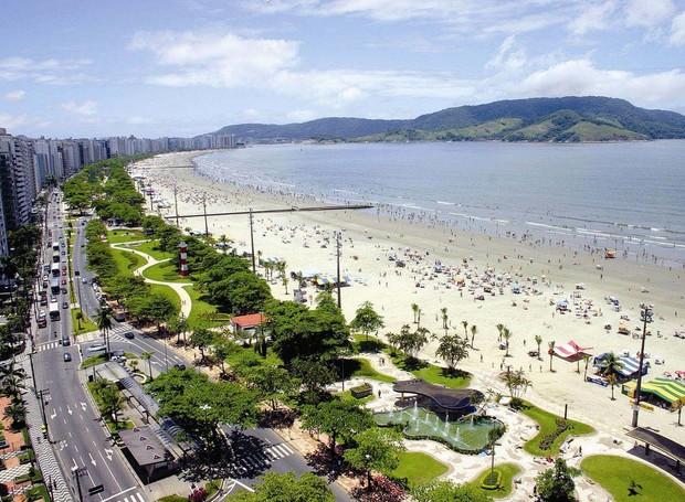 Orla da praia de Santos (Foto: PMS/ Reprodução)