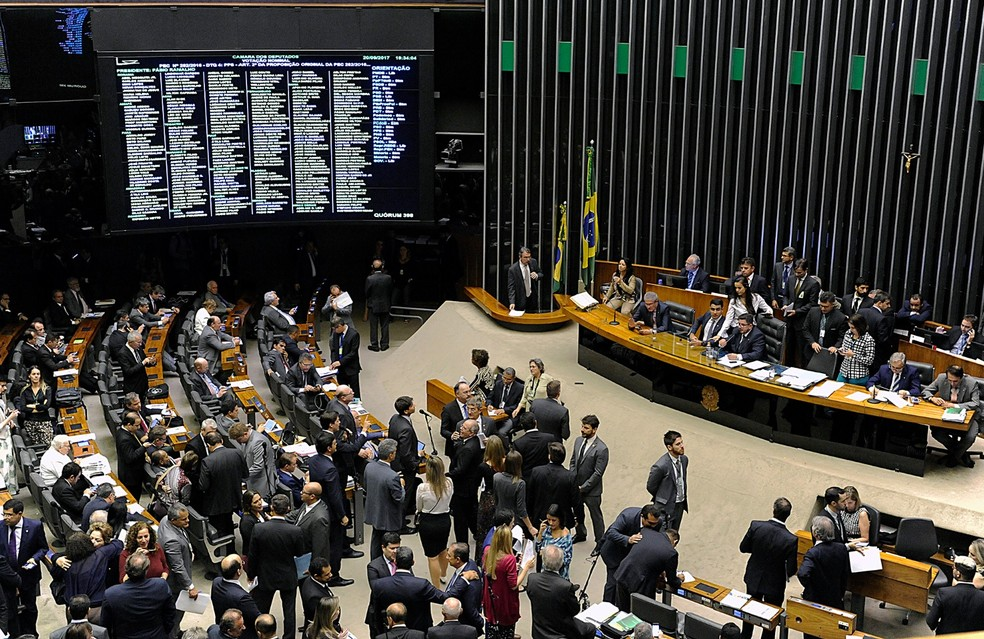 Imagem mostra os deputados no plenário da Câmara durante a sessão destinada à discussão sobre a reforma política (Foto: Luis Macedo / Câmara dos Deputados)
