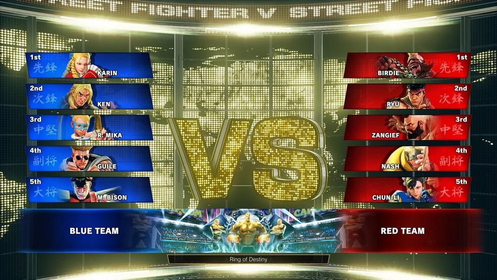 Modo de combate em times em SF5: Arcade Edition (Foto: Divulgação/Capcom)