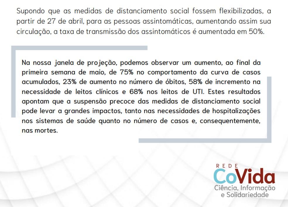 Estudo CoVida faz projeção sobre o crescimento de casos na Bahia — Foto: Reprodução