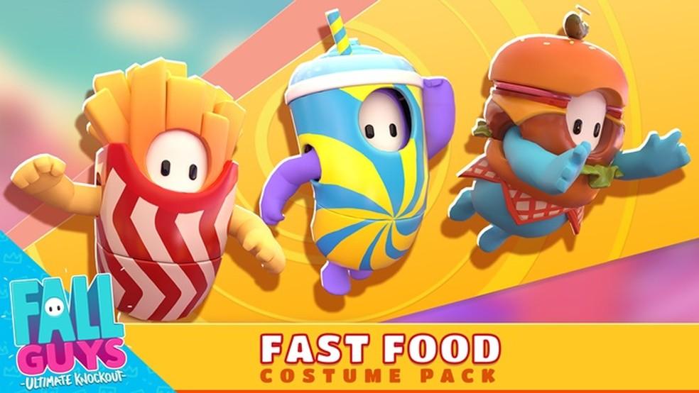 Conjunto de skins transforma personagens de Fall Guys em Fast Food — Foto: Divulgação/Fall Guys