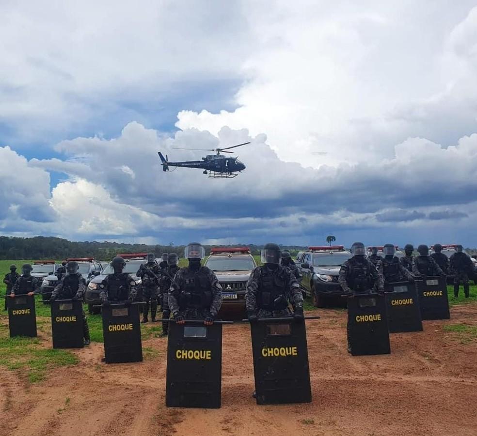 Tropas da PM estavam na Fazenda Senhora Aparecida  — Foto: PM/Divulgação
