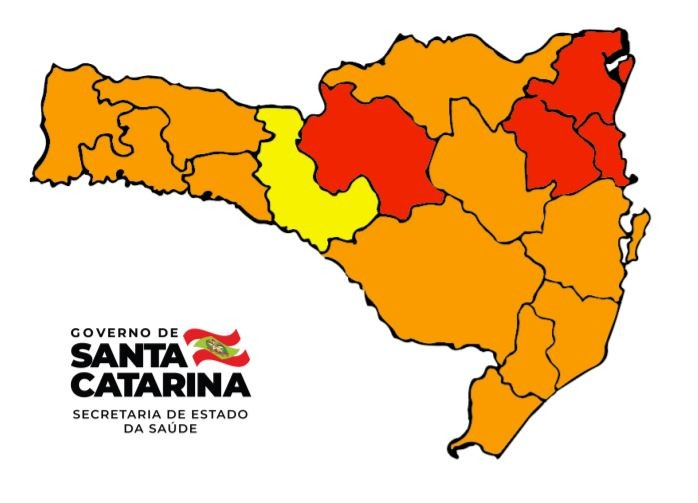 Mapa de Risco: SC tem quatro regiões em situação gravíssima para Covid-19