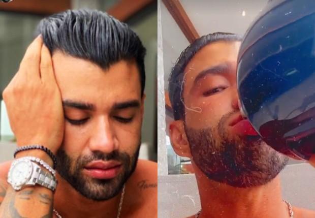 Gusttavo Lima entorna garrafa de uísque em tarde de sofrência (Foto: Reprodução/Instagram)