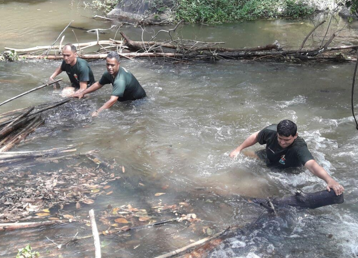 Policiais desarmam armadilhas durante operação contra pesca predatória no Rio Negro, em Itaocara, no RJ