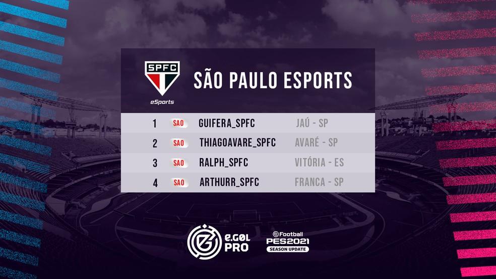 São Paulo apresenta elenco de PES 2021 para disputa do eGol Pro — Foto: Divulgação