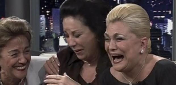 Nair Bello, Lolita Rodrigues e Hebe Camargo durante gravação do Programa do Jô, em 2000, na TV Globo1960 (Foto: Reprodução)