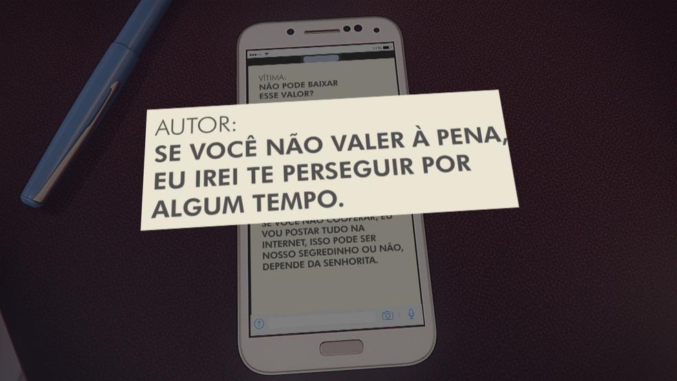 Outro trecho de mensagem do suspeito a uma das vítimas (Foto: TV Globo/Reprodução)