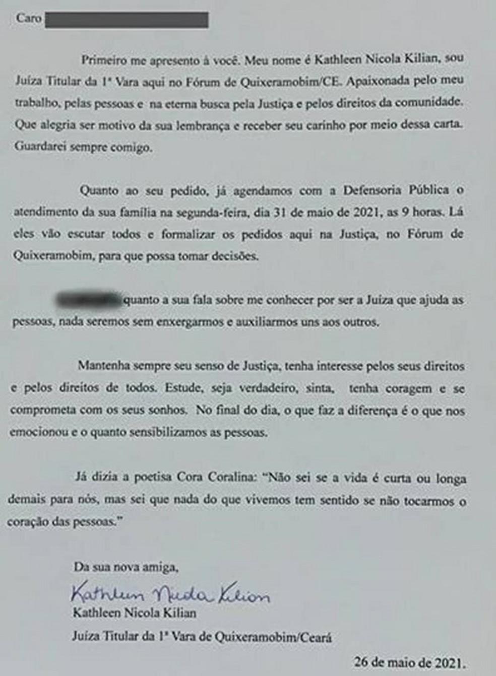 Juíza Kathleen Kilian, titular da 1ª Vara da comarca de Quixeramobim, respondeu pedido de criança que pediu para ter o sobrenome do padastro. — Foto: Fabiano Barros/Rádio Campo Maior