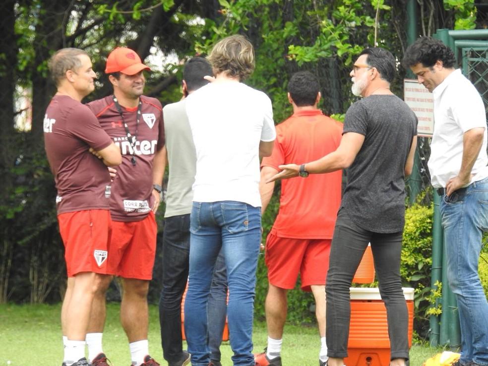 Aguirre, Jardine, Lugano, Ricardo Rocha e Raí no São Paulo (Foto: Marcelo Hazan)