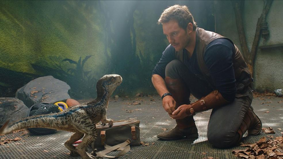Chris Pratt em cena do filme 'Jurassic World: Reino ameaçado' (Foto: Divulgação)