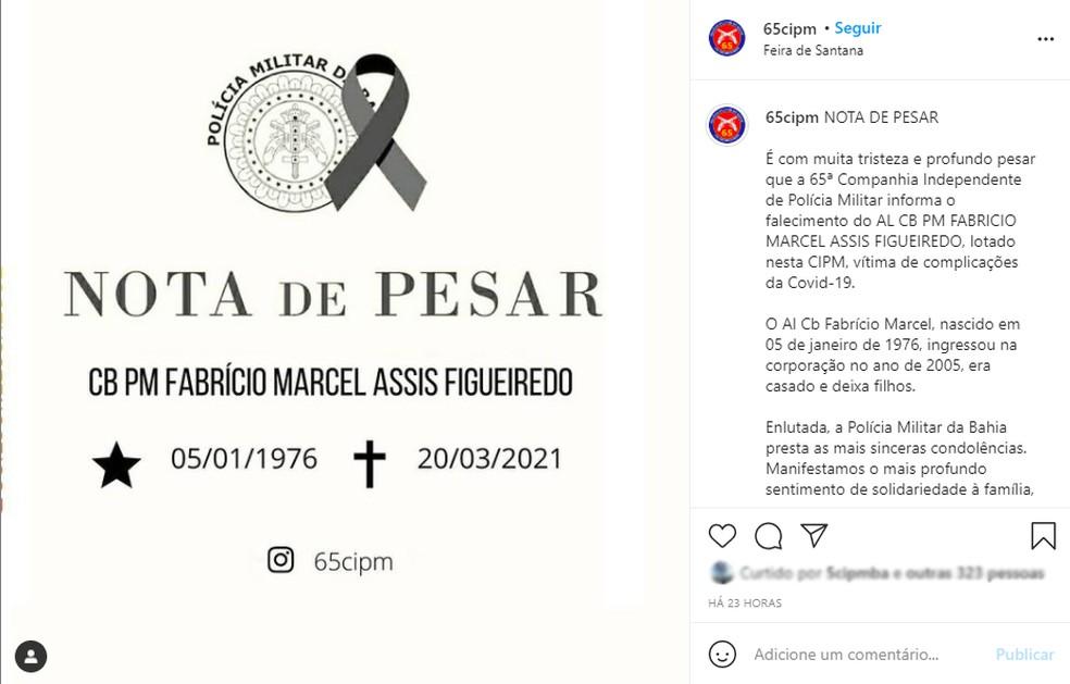 Policial militar de 45 anos morre vítima da Covid-19 em Feira de Santana  — Foto: Reprodução / 65ª Companhia Independente da Polícia Militar