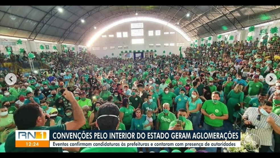 Convenções partidárias geram aglomerações pelo interior do RN — Foto: Reprodução