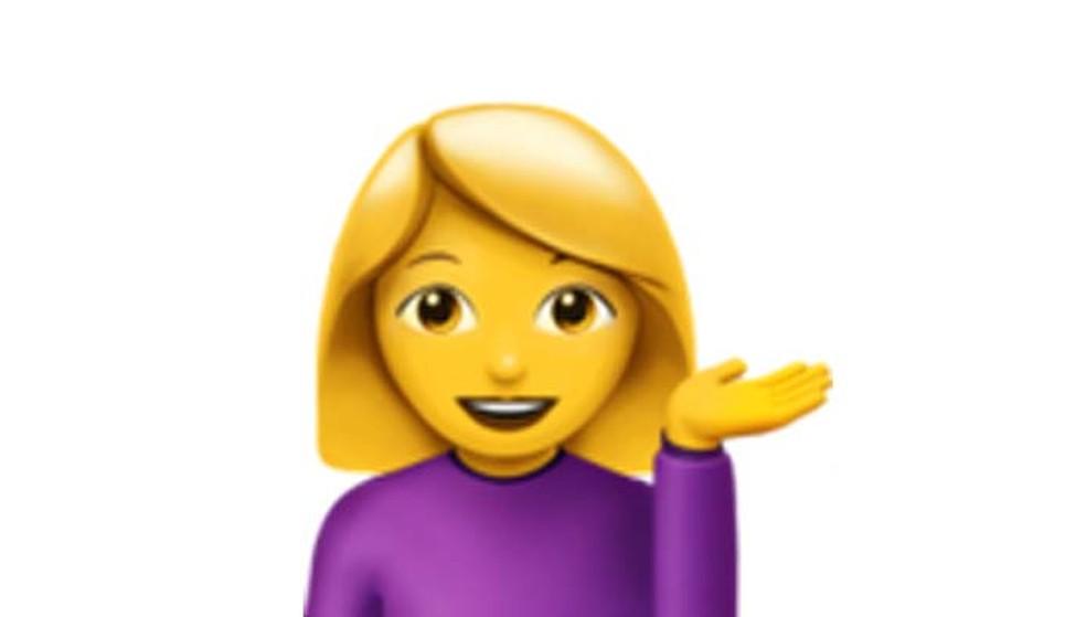Nada de sarcasmo. Esse emoji representa uma menina cheia de boa vontade (Foto: Reprodução/ Emojipedia)