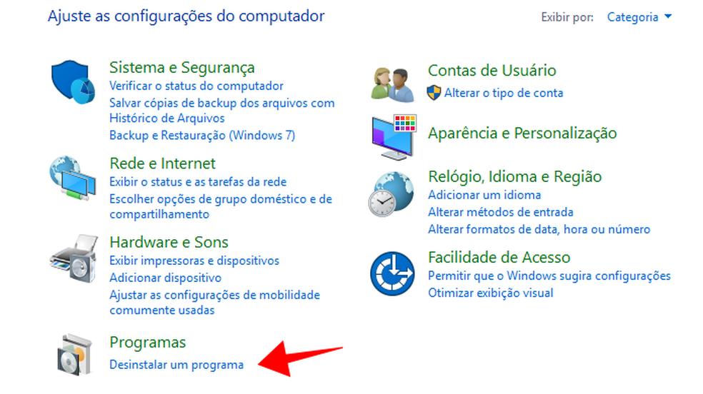 """Para desinstalar o Skype, selecione a opção """"Desinstalar um programa"""" no Painel de Controle do Windows (Foto: Reprodução/Paulo Alves)"""