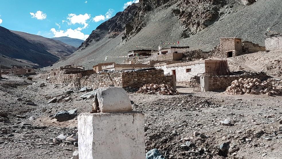Assentamento tibetano de Sumdo, em Ladakh, na Índia (Foto: Rafael Miotto / G1)