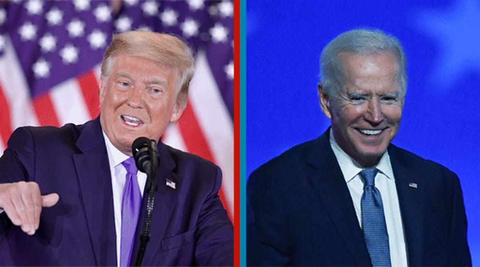 Trump e Biden em seus discursos durante apuração acirrada das eleições nos EUA — Foto: Mandel Ngan e Angela Weiss/AFP