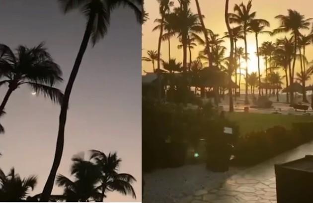 Céu do hotel em que Xuxa está hospedada em Aruba (Foto: Reprodução)