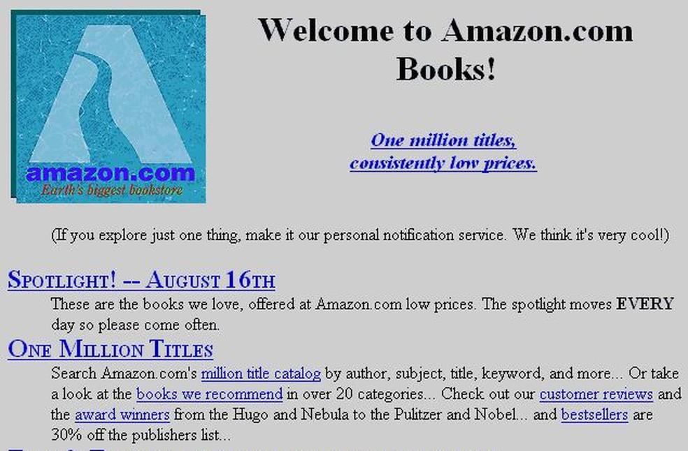 Página de entrada da Amazon nos primórdios da loja online de livros — Foto: Divulgação/Amazon