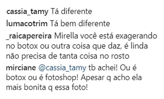 Internautas enviaram mensagens sobre supostas mudanças no rosto de Mirella Santos (Foto: Reprodução/Instagram)