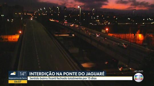 Ponte do Jaguaré tem o primeiro dia útil com interdição total de trânsito